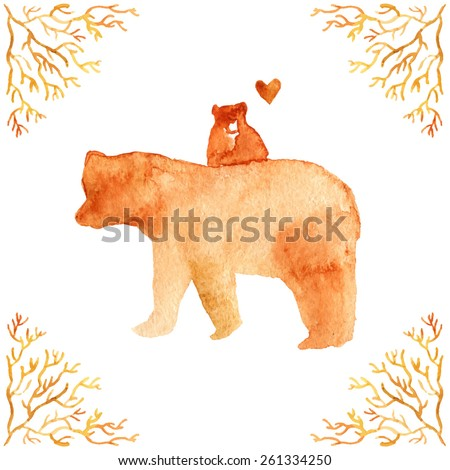 Vector watercolor illustration with brown mother bear and her baby.Greeting card for mother with cute animals with floral frame. Retro postcard for mom. Happy mothers day. Watercolor family background - stock vector