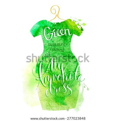 Vector watercolor image. Women dress green - stock vector