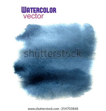Vector watercolor indigo gray abstract square shape with soft edges - stock vector