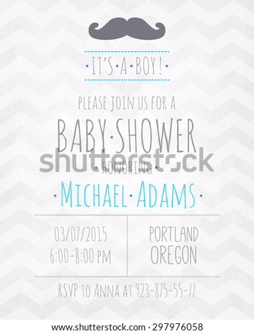 Vector watercolor invitation to the baby shower fo a boy with a mustache and a zigzag pattern - stock vector
