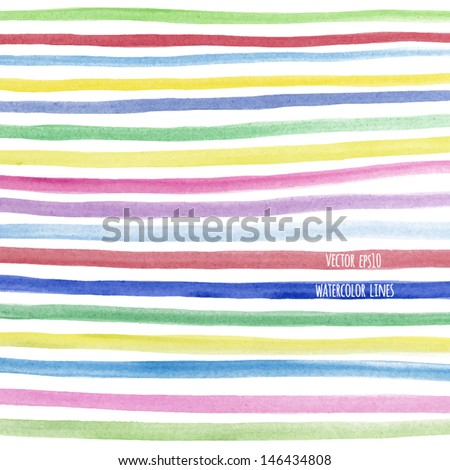 Vector watercolor lines background. Abstract multicolor texture. Fun colorful lines background for your design - stock vector