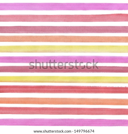 Vector watercolor lines background. Abstract multicolor texture. Fun red, pink and yellow lines background for your design - stock vector