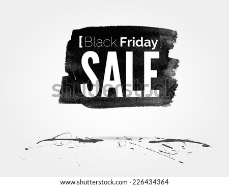 vector watercolor of label on the big Black Friday discounts and sales - stock vector