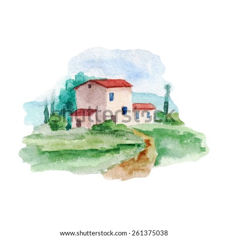 vector watercolor old country house. It can be used for card, postcard, cover, invitation.