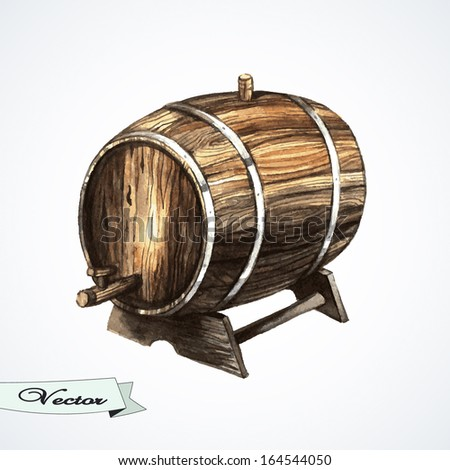 Vector watercolor old wine barrel. Vector illustration.  Element for print  design - stock vector