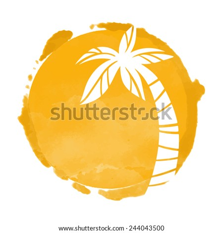Vector watercolor orange grunge geometric circle paint stain with splash and hand drawn coconut palm tree closeup white silhouette. Painted frame design. Bright colors. Abstract art
