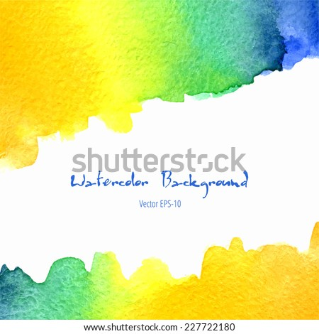 vector watercolor orange, yellow, blue, green gradient background with horizontal copy space - stock vector