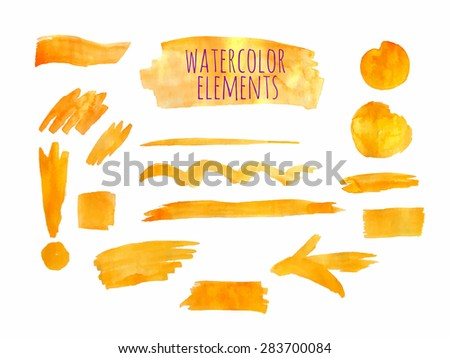 Vector watercolor paint texture stains and lines set and exclamation mark. Yellow - stock vector