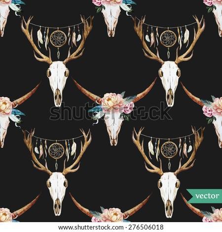 vector watercolor pattern deer head with a dark background Dreamcatcher - stock vector