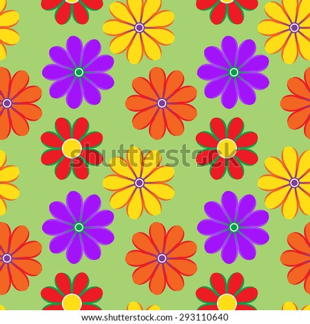 Vector watercolor pattern with bright flowers in variety of colors. Seamless texture for web print wallpaper home decor textile wrapping paper spring, summer fall fashion fabric invitation background