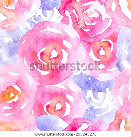 Vector Watercolor Pink and Lilac Roses Seamless Background - stock vector