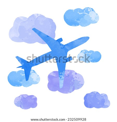 vector watercolor plane with cloud  - stock vector