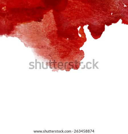 Vector watercolor red cherry ink spot. Wet brush stroke on paper texture. Dry brush strokes. Abstract composition for design elements - stock vector