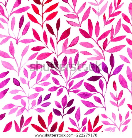 Vector watercolor retro pattern with purple leaf. Organic ornament. Watercolor graphic which can be used as wallpaper (use seamless pattern under mask) - stock vector