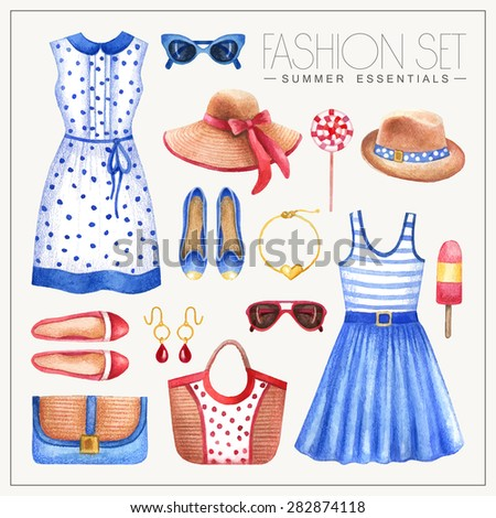 Vector watercolor romantic fashion set of woman's summer clothes and accessories. Vintage hand drawn glamorous outfit with dresses, hats, bags and shoes - stock vector