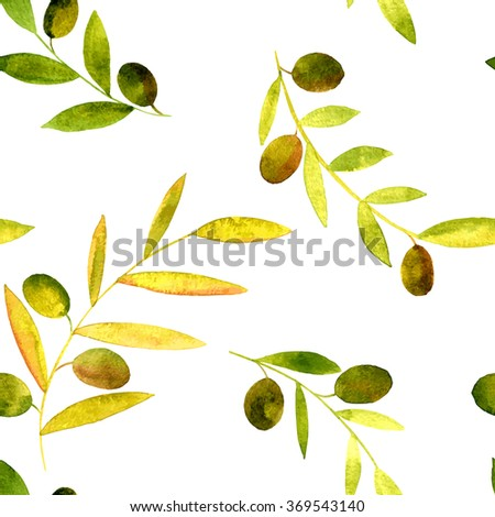 vector watercolor seamless pattern with olives and green branches with leaves, hand drawn vector design elements - stock vector