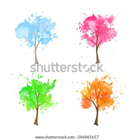 vector watercolor seasonal tree