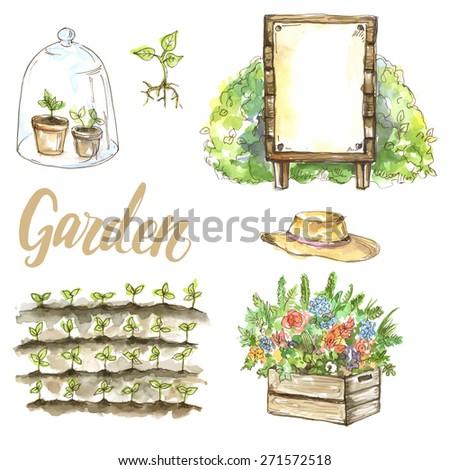 Vector watercolor set of garden items: sprouts, flowers, hat, garden bed, bush - stock vector