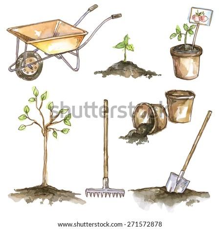 Vector watercolor set of garden items: wheelbarrow, sprout, tree, rake, shovel, pot - stock vector