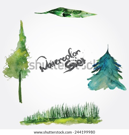 Vector watercolor set of green nature objects - trees, grass and leaf - stock vector