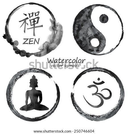 Vector watercolor set of yoga and buddhism label icons. Om, Zen, Buddha and Yin Yang signs design concept - stock vector