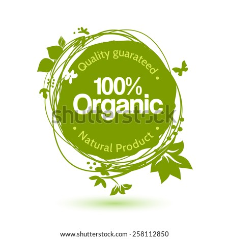 Vector watercolor sketch label for organic product. Hand drawing food and drink sticker. Farm offer design element. - stock vector
