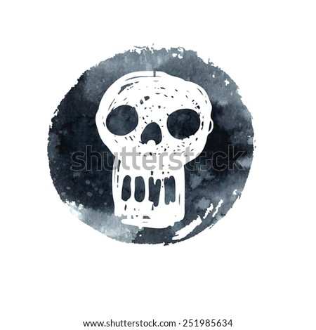vector watercolor skull. cartoon style - stock vector
