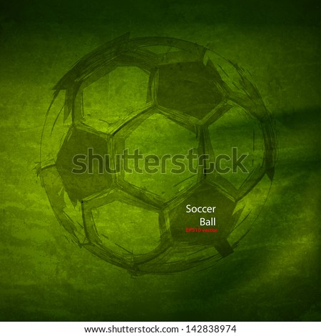 Vector Watercolor Soccer Ball, easy all editable - stock vector