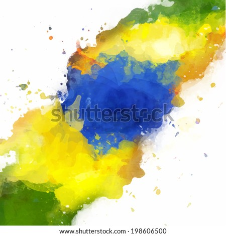 Vector watercolor splash in Brazil flag concept color. Can be used in cover design, website background or advertising. - stock vector