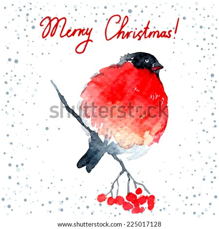 Vector watercolor-style Christmas/New Year greeting card with Bullfinch.