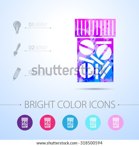 Vector watercolor tablet bottle with infographic elements . Health icon  - stock vector