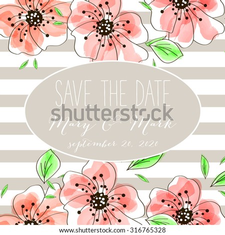 Vector watercolor template save the date with tropic floral frame, leaves. Artistic vector design for banners, greeting cards,sales, posters - stock vector