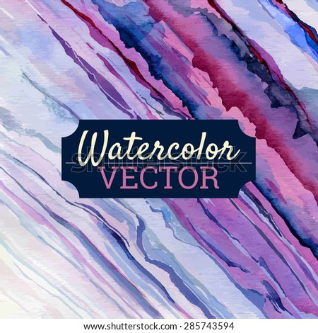 Vector watercolor texture and brush strokes, dry brush in pink tones - stock vector