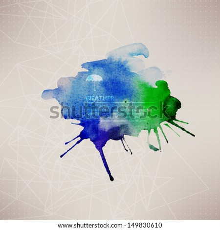 Vector watercolor texture. Blue grunge paper template. Water. Wet paper. Blobs, stain, paints blot. Looks like cloud, water or sky. Composition for scrapbook elements.Brushstrokes. Banner. - stock vector