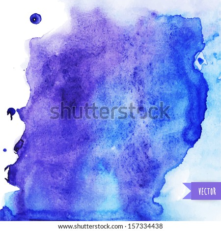 Vector watercolor texture. Grunge paper template. Wet paper. Blobs, stain, paints blot. Looks like ocean water or sky, maritime theme. Backdrop for scrapbook elements with space for text. Banner. - stock vector