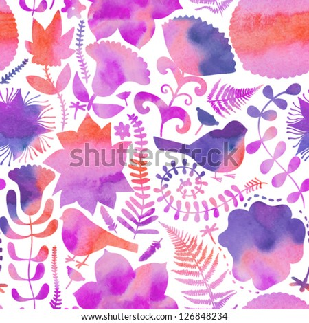 Vector watercolor texture with flowers.Copy that square to the side,you'll get seamlessly tiling pattern which gives the resulting image the ability to be repeated or tiled without visible seams. - stock vector