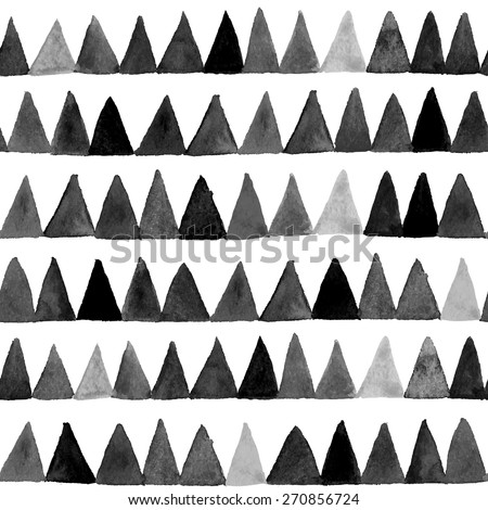 Vector watercolor triangles seamless pattern. Modern  seamless pattern. Black and white texture in geometry template. Grunge pattern. Retro triangle background. Bright pattern.