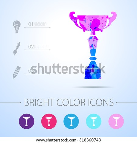 Vector watercolor trophy goblet icon with infographic elements . Winner award
