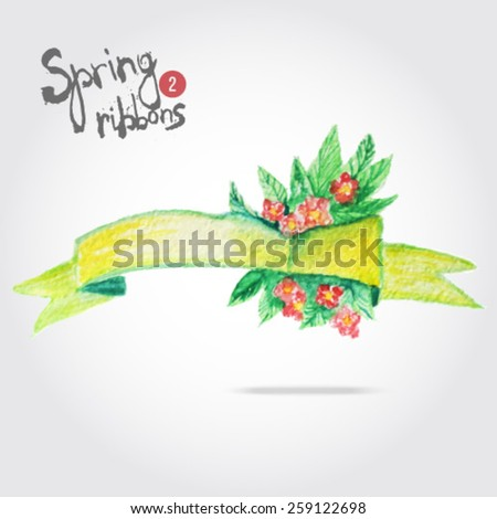 Vector watercolor yellow ribbon with bright flowers and leaves. Artistic vector design for banners, greeting cards, spring sales, wedding ivitation