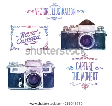 Vector watercolour camera drawing on white background - stock vector