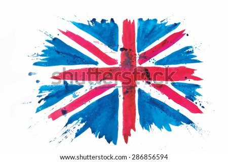 vector watercolour flag of the united kingdom of Great Britain and Northern Ireland isolated on white - stock vector