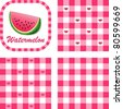 vector - Watermelon & Gingham Seamless Patterns in 3 designs. EPS8 file has 3 check pattern swatches (tiles) that will seamlessly fill any shape. - stock vector