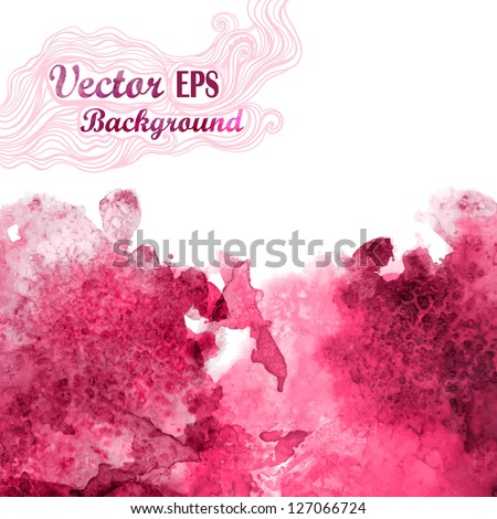 Vector wave in watercolor technique.Grunge background.Drop red abstract watercolor looks like wine splash.Vector stain. Watercolor composition for scrapbook elements with empty space for text message. - stock vector