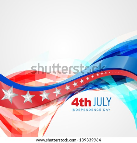 vector wave style american independence day background - stock vector