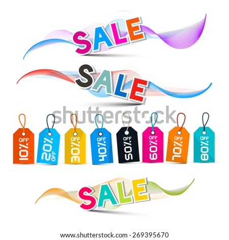 Vector Waves with Sale Title in Shiny Colors with Discount Labels with Strings Isolated on White Background - stock vector
