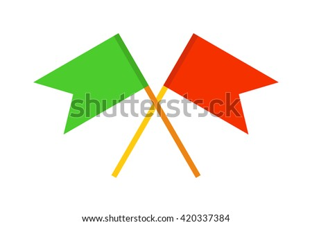 Vector waving flags and flags banners icons, flags presentations. Web pages flags and design symbol banner icon pole. Event map element emblem flagpole collection flags, pointer direction red flag. - stock vector