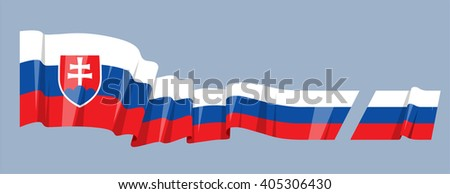 Vector waving national country flag ribbon Slovakia Europe