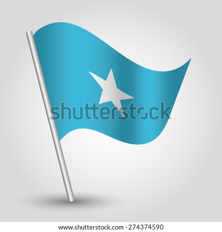 vector waving simple triangle Somali  flag on pole - national symbol of Somalia with inclined metal stick - stock vector