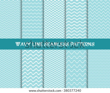 Vector wavy line seamless patterns blue and white - stock vector