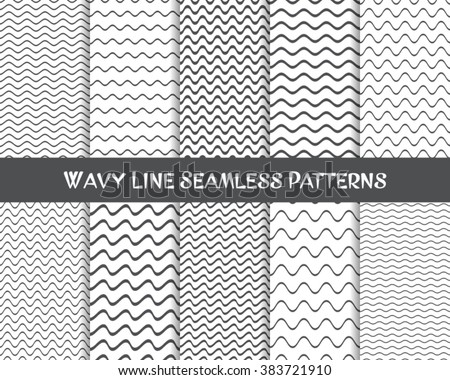Vector wavy line seamless patterns gray and white - stock vector